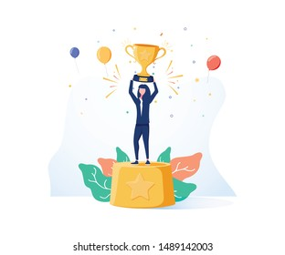 Beautiful smiling businesswoman is standing on a winners pedestal with a golden cup and confetti around. Modern vector illustration. Business background for website. Femine gender, best, success woman