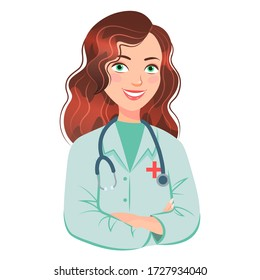 Beautiful smiling cartoon lady doctor with stethoscope vector illustration isolated on white background.