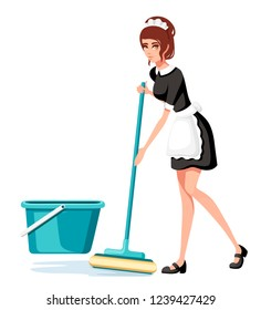 Beautiful smiling maid in classic french outfit. Cartoon character design. Women with brown short hair. Chambermaid cleaning floor with mop. Flat vector illustration isolated on white background.