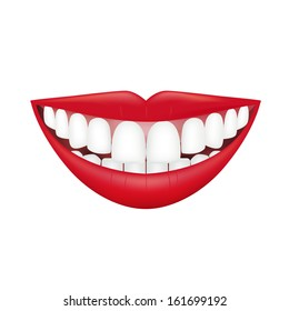 Beautiful smiling mouth with beautiful healthy teeth isolated on white