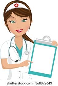 beautiful smiling nurse indicating blank folder isolated