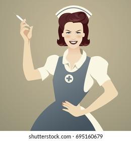 Beautiful and smiling retro nurse holding a syringe