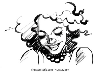 Beautiful smiling woman face with curly hair. Pencil sketch over white