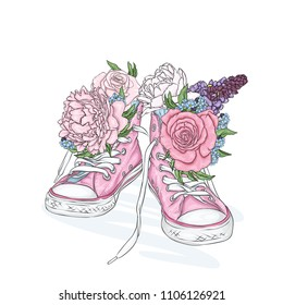 Beautiful sneakers. Vector illustration for a picture or poster. Youth shoes. Sports, running and walking. Pink sneakers and flowers. Peonies and roses.