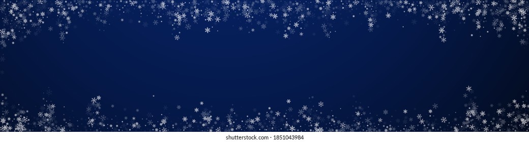 Beautiful snowfall Christmas background. Subtle flying snow flakes and stars on dark blue background. Breathtaking winter silver snowflake overlay template. Favorable panoramic illustration.