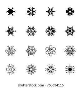 Beautiful snowflake icons. Simple snow logo. Winter symbols for web and Christmas design. Vector illustration
