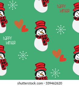 beautiful snowmen with hearts and snowflakes pattern vector illustration