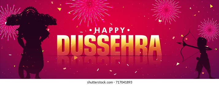Beautiful social media header with fireworks and silhouette of little boy aiming to kill Ravana for Dussehara festival.