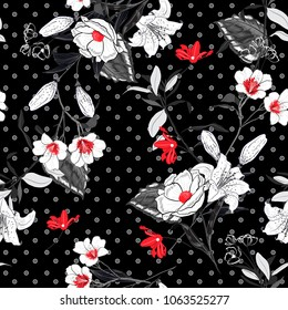 Beautiful and softy blooming black and white flowers red Pollen seamless pattern vector on pollka dots on black background for fashion fabric and all prints in hand drawn style.