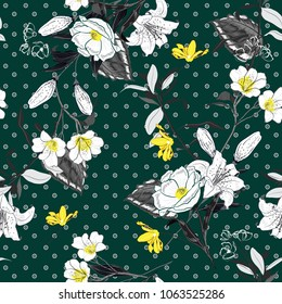 Beautiful and softy blooming black and white flowers yellow Pollen seamless pattern vector on pollka dots on dark green background for fashion fabric and all prints in hand drawn style.