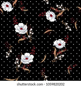 Beautiful and softy blooming white flowers seamless pattern vector on pollka dots on black background for fashion fabric and all prints in hand drawn style.