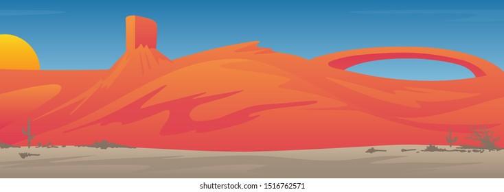 Beautiful Southwestern USA Desert Valley Landscape Scene Vector Illustration