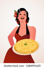 Beautiful Spanish Cook with Potato Omelette. She wears a polka-dot dress or apron and a flower in her hair.