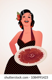 Beautiful Spanish cook showing a plate of Iberian ham. She wears a polka-dot dress or apron and a flower in her hair.