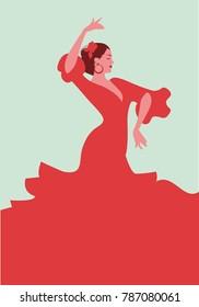 Beautiful Spanish flamenco dancer, wearing elegant red dress and flower in her hair