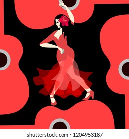 Beautiful Spanish girl dressed in long red dress, with rose flower in her hair and with castanets in her hands, dancing flamenco on stylized red guitar on black background in vector.
