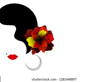 Beautiful Spanish or Latin woman silhouette whit red Hibiscus flowers and sexy red lips. Beauty Logo Template. Flamenco dancer girl portrait. Vector Company Name, isolated or white background