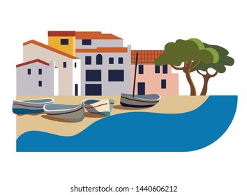 beautiful spanish town on the coast with fishing boats. Vector mediterranean landscape