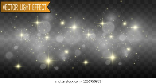 Beautiful sparks shine with special light. Vector sparkles on a transparent background. Christmas abstract pattern. A beautiful illustration for the postcard. The background for the image. Luminaries