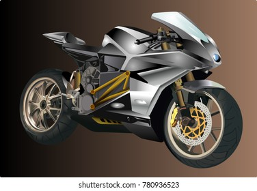 Beautiful Sports bike vector illustration on brown background