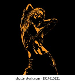 Beautiful sporty girl bends and raises her hands. Silhouette in contrast backlight. Vector. Illustration.