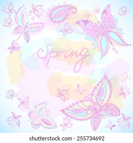 Beautiful spring background of butterflies pastel colors.