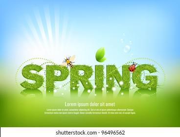 Beautiful spring background, illustration.