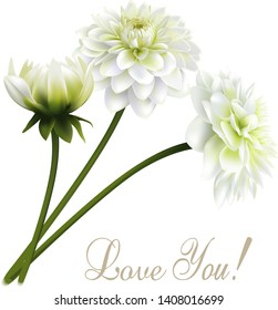 Beautiful spring card with chrysanthemum flower and Love You wording on white background