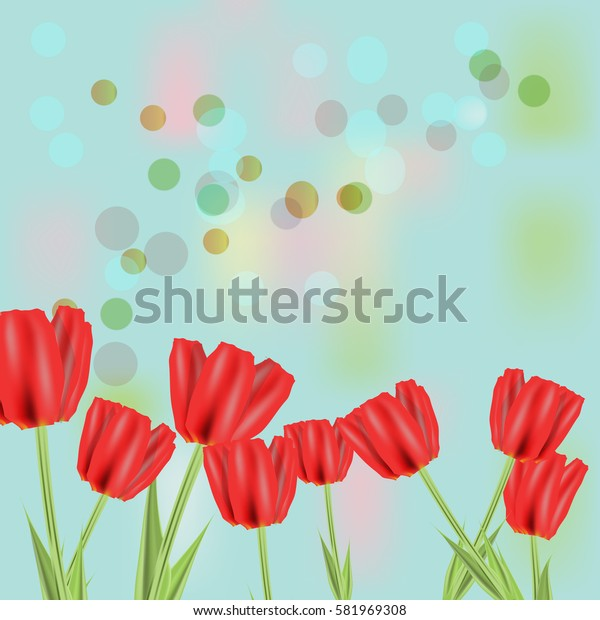 Beautiful spring flowers collection. Vector drown isolated tulips. Template for invitation, wedding, greeting card or print.