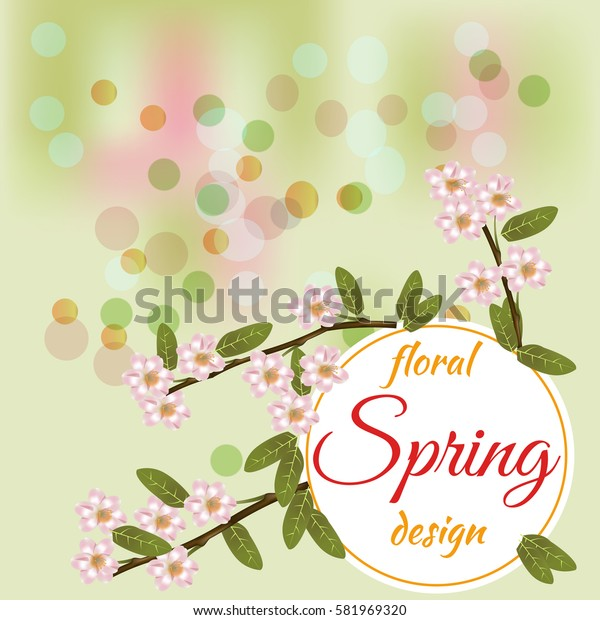 Beautiful spring flowers collection. Vector drown isolated cherry blossom. Template for invitation, wedding, greeting card or print. Spring floral design.