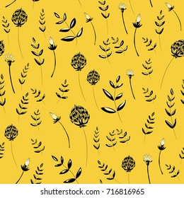 Beautiful spring flowers with leaves. Seamless pattern. Vector illustration on yellow background