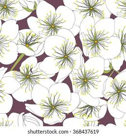 Beautiful spring flowers seamless pattern. Vector illustration, EPS 10