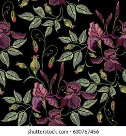 Beautiful spring purple irises seamless pattern, clothes template. Embroidery irises hand drawn seamless pattern vector
