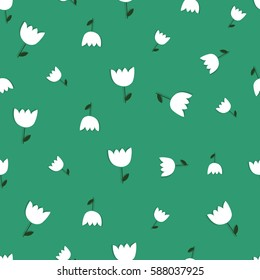 Beautiful spring seamless pattern. Stylish white tulips on green background. Hand drawn vector illustration.