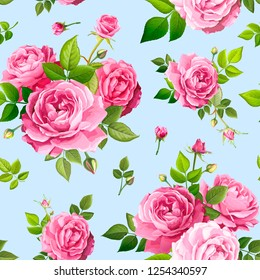 Beautiful spring or summer seamless pattern with bouquets flowers of pink blooming roses, green leaves and buds on a light blue background. Lovely floral design element of textile. Vector illustration