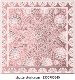 Beautiful square kerchief design with mandala pattern. Fashion print in dusty rose colors.