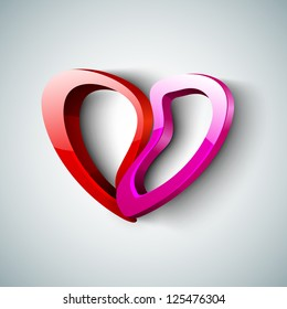 Beautiful St. Valentine's Day background, gift or greeting card with colorful paper heart on grey, 3D love concept. EPS 10.