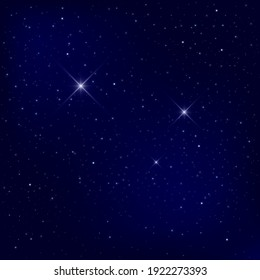 Beautiful starry sky. Stardust and bright shining stars in the universe. Realistic vector illustration of space and universe.