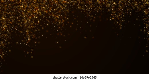 Beautiful starry snow Christmas overlay. Christmas lights, bokeh, snow flakes, stars on night background. Luxury actual sparkling overlay template. Modern vector illustration.
