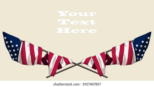 Beautiful starry striped crossed USA flags drawn in retro style stylized as vintage engraving