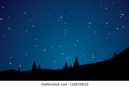 Beautiful stary night landscape vector illustration