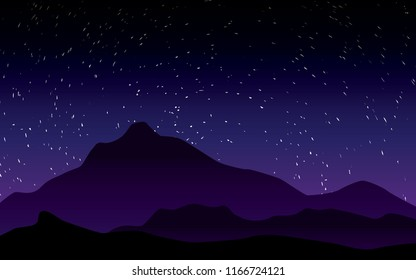 beautiful stary night landscape vector illustration with purple sky