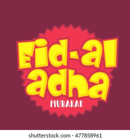 A beautiful sticker or label of eid-al-adha celebration background.
