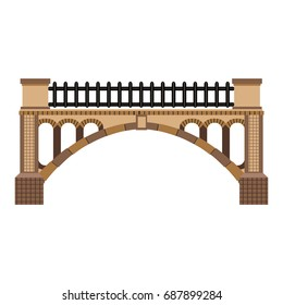 A beautiful stone or brick bridge. Vector illustration can be used in newsletter, brochures, postcards, banner