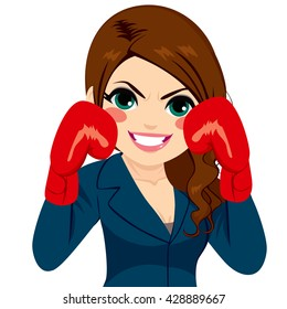Beautiful strong businesswoman wearing red boxing gloves ready to fight competition concept isolated on white background