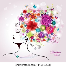 Beautiful style Woman with Flowers and Butterflies.