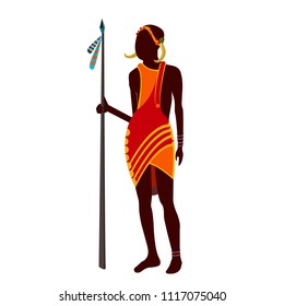 Beautiful, stylish African people, tribes, African American people dressed in tribal dresses of red colors, various decorations, African tribe Modern vector flat design image isolated on white back