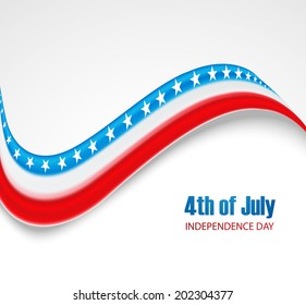 Beautiful stylish American independence day 4th of July wave white background