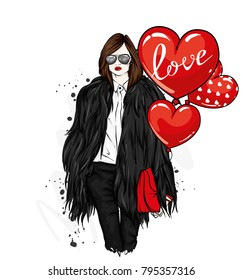 Beautiful stylish girl in a fur coat, trousers and glasses. Fashionable clothes and accessories. Fashion & Style. Vector illustration for a postcard or a poster. Heart shaped balls. Valentine's day.