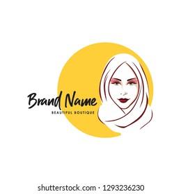 Beautiful Stylish Hijab Girl Logo, Brand, Line Art, Vector Design, Icon, Sign, Template